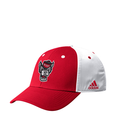 NC State Wolfpack Adidas Red and White Coaches Flex Wolfhead Hat