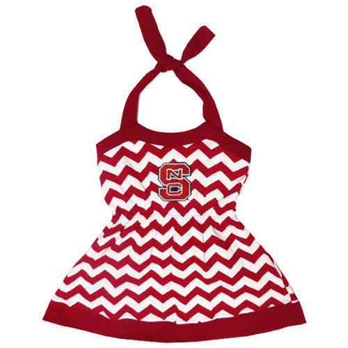 NC State Wolfpack Youth Skylar Chevron Halter Dress