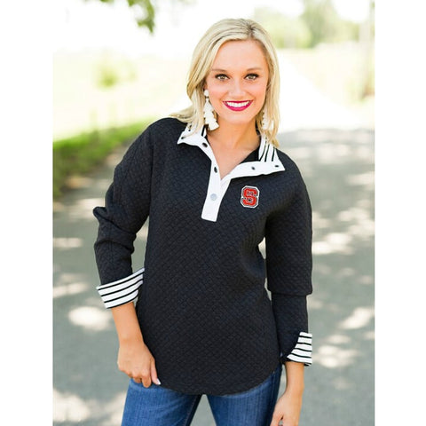 NC State Wolfpack Women's Black Out Of Your League Quarter Button Jacket