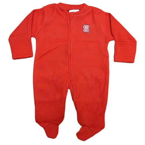 NC State Wolfpack Infant Red Fleece Footed Romper