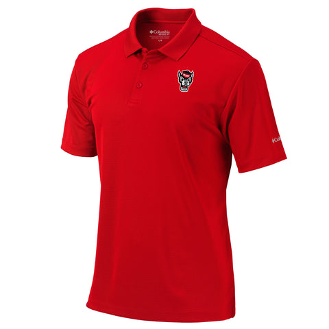 NC State Wolfpack Columbia Red Wolfhead Omni-Wick Round One Polo
