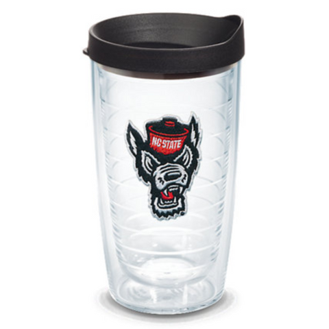 NC State Wolfpack 16oz Wolfhead Black Tervis Tumbler w/Lid