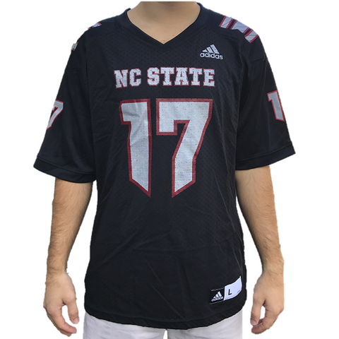 NC State Wolfpack Adidas Black Howl #17 Football Sideline Replica Jersey
