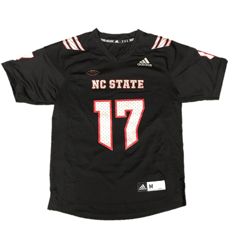 NC State Wolfpack Adidas Youth Black Howl #17 Football Sideline Replica Jersey