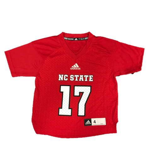 NC State Wolfpack Adidas Kid's Red #17 Football Sideline Replica Jersey