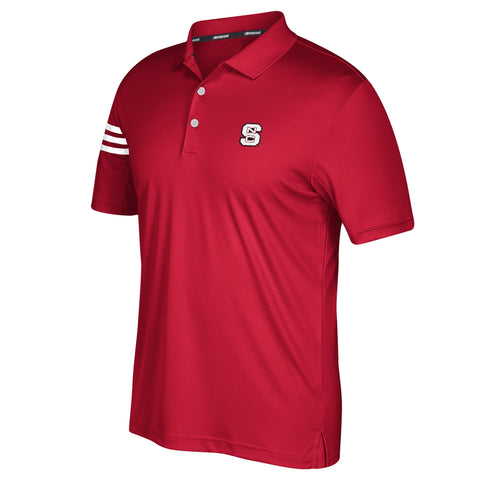 NC State Wolfpack Adidas 2017 Red Football 3 Stripe Sideline Coaches Polo