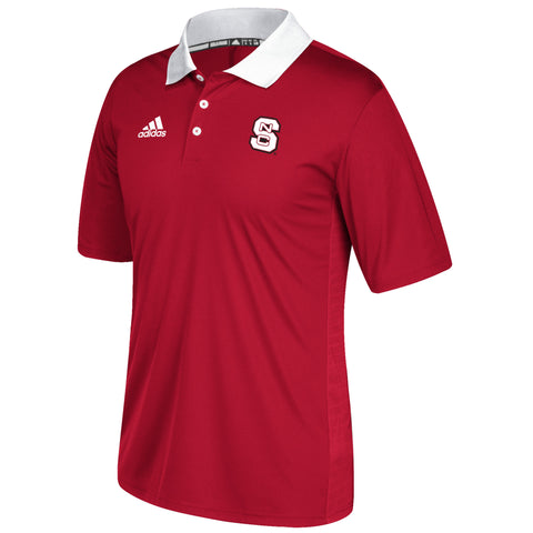NC State Wolfpack Adidas 2017 Red Football Sideline Coaches Polo