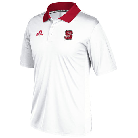 NC State Wolfpack Adidas 2017 White Football Sideline Coaches Polo