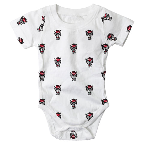 NC State Wolfpack White All Over Wolfhead Onesie