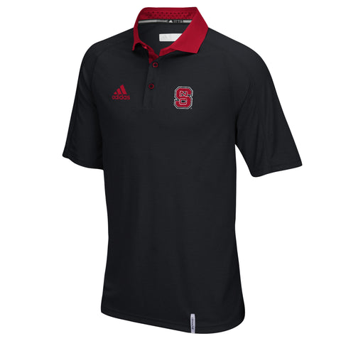 NC State Wolfpack Adidas Black and Red ClimaChill Polo