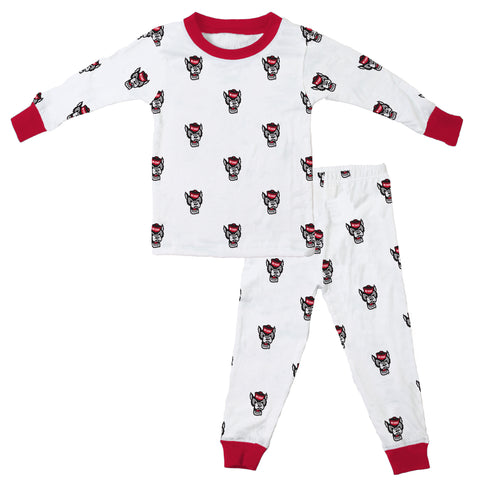 NC State Wolfpack Infant/Toddler White All Over Wolfhead Long Sleeve Pajama Set