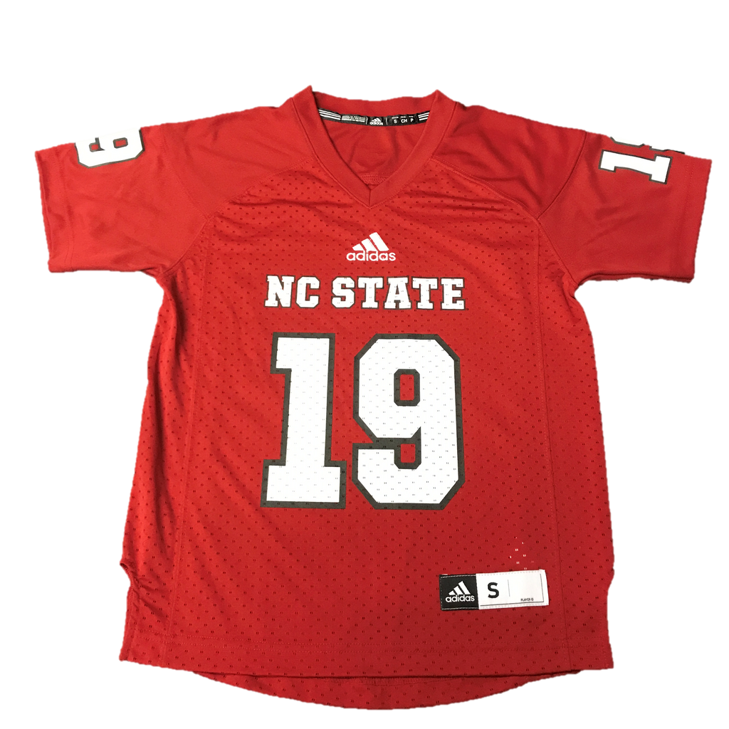 NC State Wolfpack Adidas Youth Red #19 Replica Football Sideline Jersey