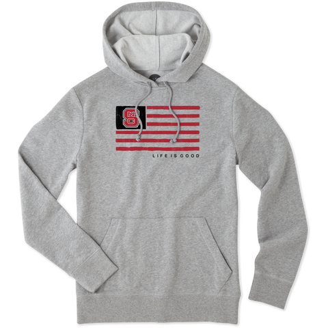NC State Wolfpack Men's Heathered Grey Team Flag Hooded Sweatshirt