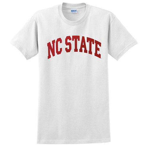 Nc State Wolfpack White Arch Youth T Shirt Red And White