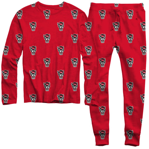 NC State Wolfpack Youth Red All Over Wolfhead Pajamas Set