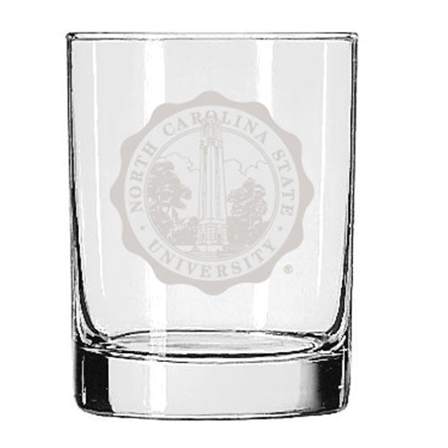 NC State Wolfpack Seal Design 14 oz Rocks Glass