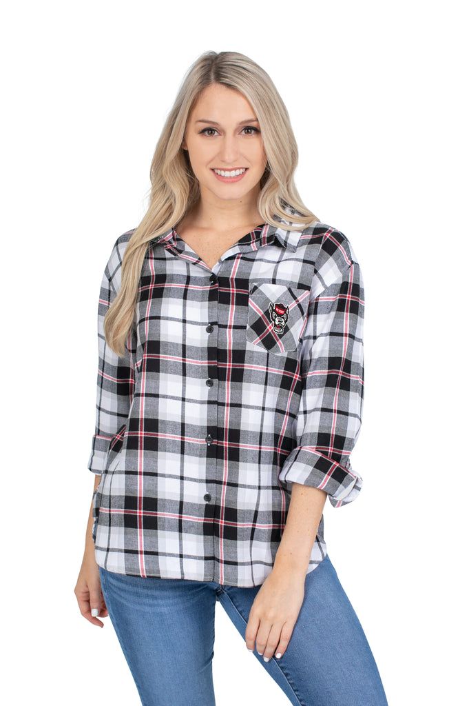 NC State Wolfpack Women's Black Boyfriend Plaid Button Down