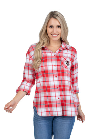 NC State Wolfpack Women's Red Boyfriend Plaid Button Down