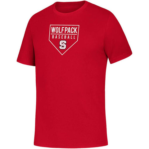 NC State Wolfpack Adidas Red Baseball Home Plate Amplifier T-Shirt