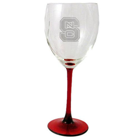 NC State Wolfpack 12oz Red Stemmed Wine Glass