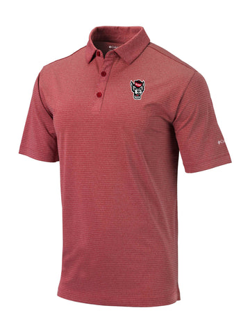 NC State Wolfpack Columbia Heather Red Omni-Wick Wolfhead Sunday Polo