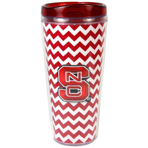NC State Wolfpack Red Chevron Design 16oz Acrylic Cup w/ Lid