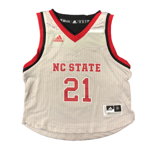 NC State Wolfpack Adidas Kid's Grey #21 Replica Basketball Jersey