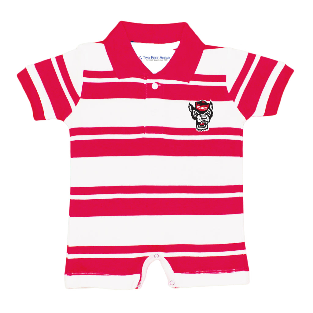 NC State Wolfpack Infant Red and White Striped Wolfhead Rugby Onesie