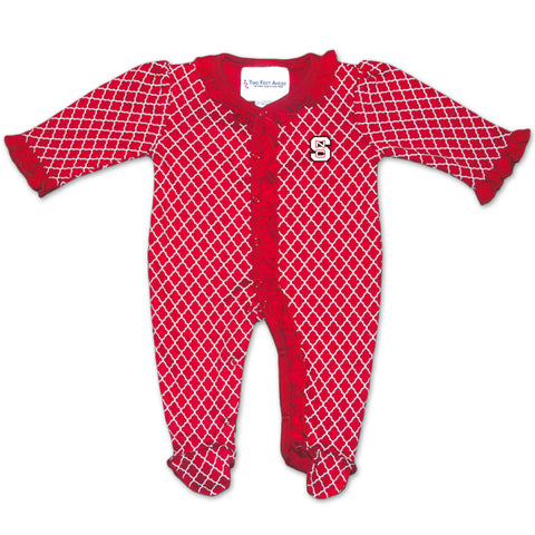 NC State Wolfpack Infant Red Lattice Footed Onesie