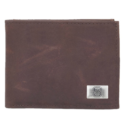 NC State Wolfpack Brown Leather Bi-Fold Wallet