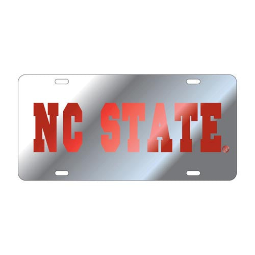 NC State Wolfpack Silver & Red License Plate