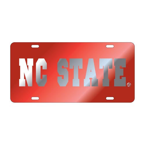 NC State Wolfpack Red & Silver License Plate