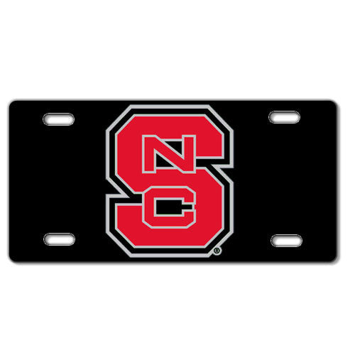 NC State Wolfpack Black Block S Acrylic License Plate