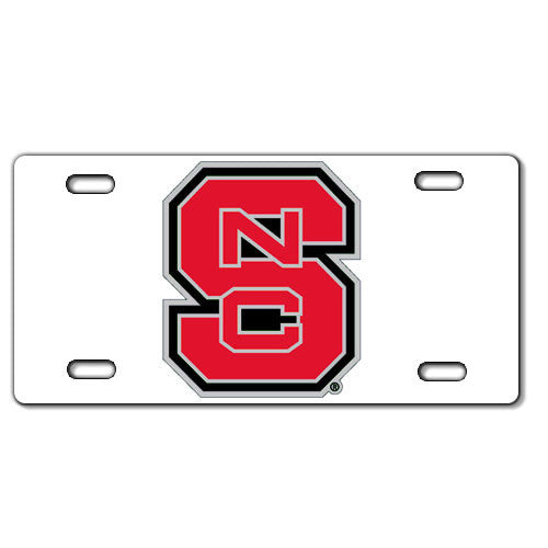 NC State Wolfpack White Block S Acrylic License Plate