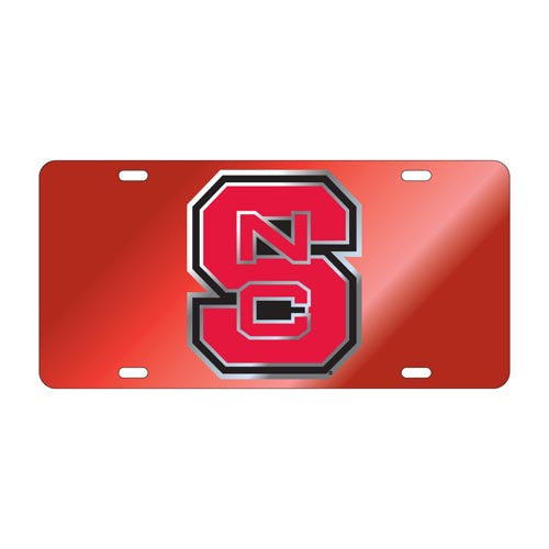 NC State Wolfpack Block S Red License Plate