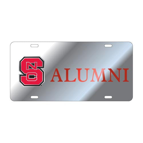 NC State Wolfpack Silver Block S Alumni License Plate