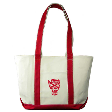 NC State Wolfpack Red Wolfhead Canvas Medium Boat Tote