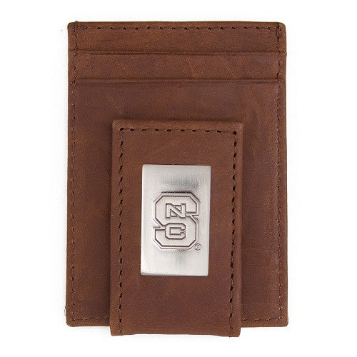 NC State Wolfpack Brown Front Pocket Wallet