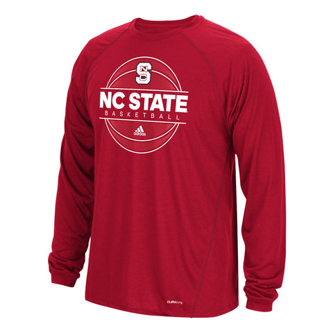 NC State Wolfpack Adidas Red On Court Basketball Performance Long Sleeve T-Shirt