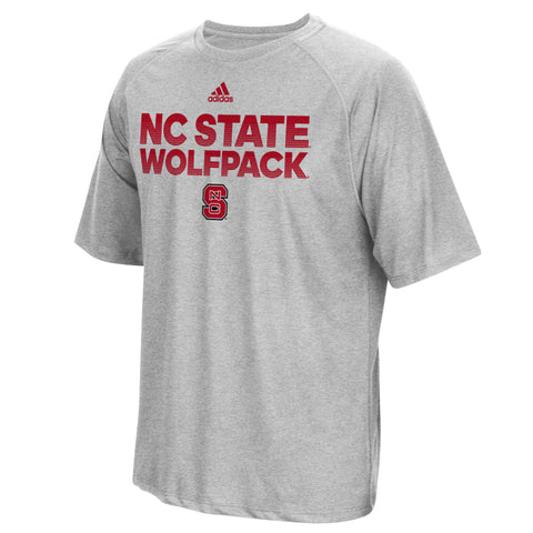 NC State Wolfpack Adidas Grey Sideline Hustle Climalite T-Shirt