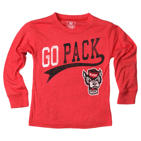 NC State Wolfpack Toddler Red Wolfhead Go Pack Long Sleeve T-Shirt