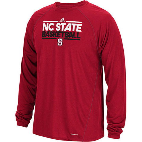 NC State Wolfpack adidas® Red Climalite Ultimate NC STATE BASKETBALL Long Sleeve T-Shirt