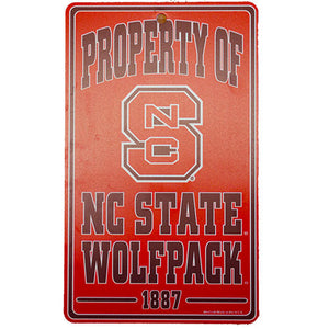 "NC State Wolfpack ""Property Of"" Sign"
