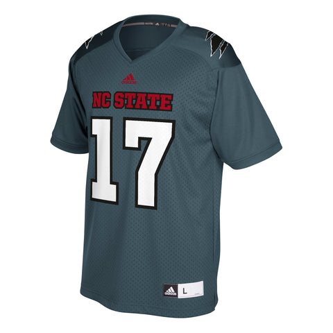 NC State Wolfpack Adidas Grey #17 Football Sideline Replica Jersey
