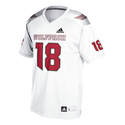 "NC State Wolfpack Adidas ""Ice Wolf"" White 2018 #18 Replica Football Jersey"