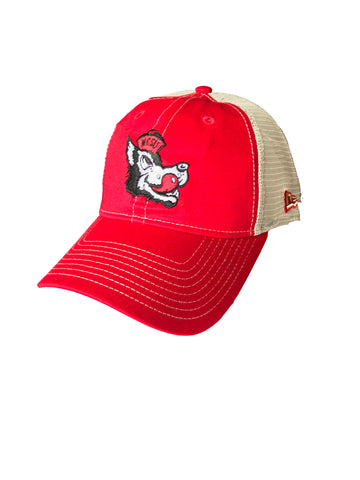 NC State Wolfpack New Era Red Slobbering Wolf Mesh Adjustable Hat