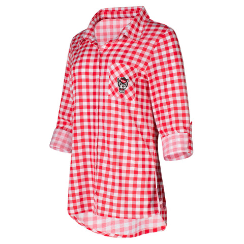 NC State Wolfpack Women's Red and White Wanderer Knit Shirt