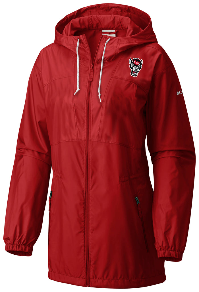 NC State Wolfpack Columbia Women's Red Flashback Windbreaker Full Zip Hooded Jacket