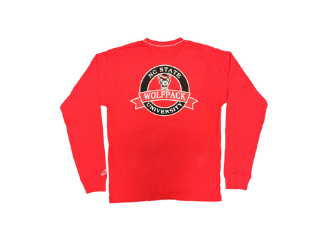 NC State Wolfpack Red Vintage Wash Wolfhead Long Sleeve Pocket T-Shirt