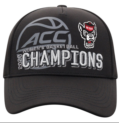 NC State Wolfpack Women's Basketball Black 2020 ACC Champions Adjustable Hat